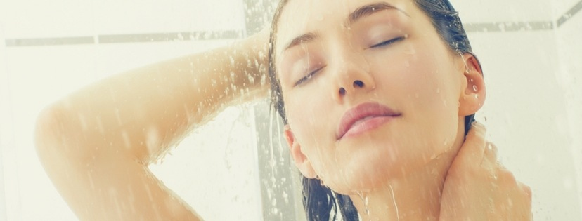 woman enjoy shower