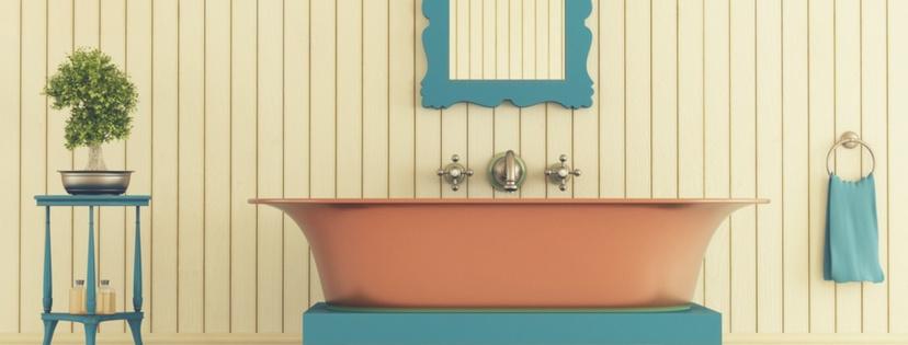 bathroom with luxury copper tub